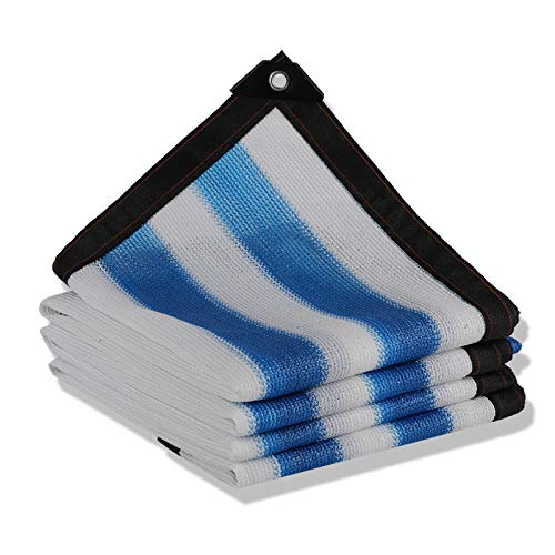 Filet Protection Solaire 90% résistant aux UV Crème solaire Panneau d'ombre Maille de tissu pour Greenhouse Garden Camping Toile de protection pour auvents de voiture de patio - bleu + blanc