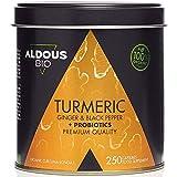 Cúrcuma con Jengibre y Pimienta Negra con PROBIÓTICOS para 125 días (1520mg) | 250 Cápsulas | Antiinflamatorio y Antioxidante Natural | Formula Avanzada | Certificación Ecológica (250 Cápsulas)