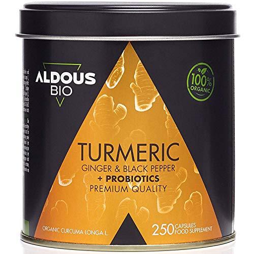 Cúrcuma con Jengibre y Pimienta Negra con PROBIÓTICOS para 125 días (1520mg) | 250 Cápsulas | Antiinflamatorio y Antioxidante Natural | Formula Avanzada | Certificación Ecológica