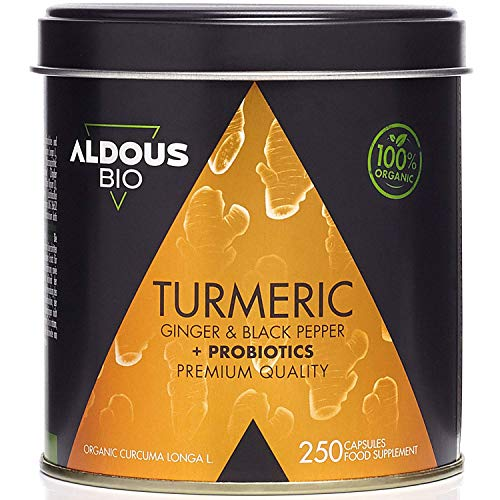 Turmeric with Ginger and Black Pepper with Probiotics for 125 Days (1520mg) | 250 Capsules | Anti-Inflammatory and Natural Antioxidant | Advanced Formula | Plastic Free | Ecological Certification
