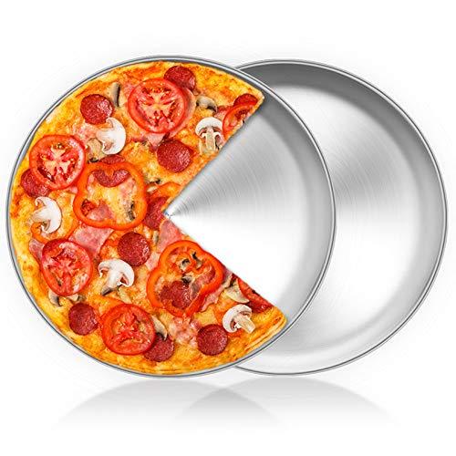 HaWare Pizzablech, Rund Pizzaform 30cm Edelstahl Pizza Backblech 2 Stück für Backofen Backen – Ungiftig&Gesund, Einfach zu Reinigen&Spülmaschinenfest