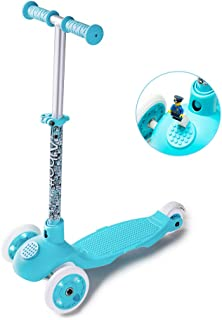Albott Scooter for Kids - Blocks Toy Scooter 3 Wheel Scooter with LED Wheels for Toddlers Age 2-6(Blue)