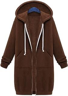 Sexyshine Women's Casual Loose Zip up Long Hoodies Sweatshirt Outerwear Jacket Tunic Coat Pockets