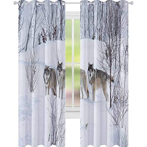 YUAZHOQI Cortinas opacas para dormitorio Lobos Caminando en el Valle Nevado del Norte Escandinavo Salvaje Diseño de Animales Cortinas de ventana para sala de estar W52 x L84 pulgadas Blanco