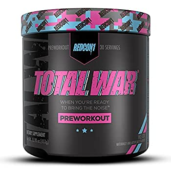 Redcon1 Total War - Pre Workout Boost Energy Increase Endurance and Focus Beta-Alanine 350mg Caffeine Citrulline Malate Nitric Oxide Booster - Keto Friendly  Vice City