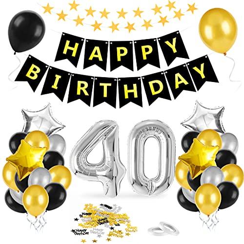 Bluelves 40 Anni Palloncini Compleanno, Palloncini Numeri 40 Nero Oro Argento, Kit Decorazioni 40 Compleanno, Addobbi Compleanno Adulti Festa Decorazioni, Nero Oro Striscione Foil Palloncini