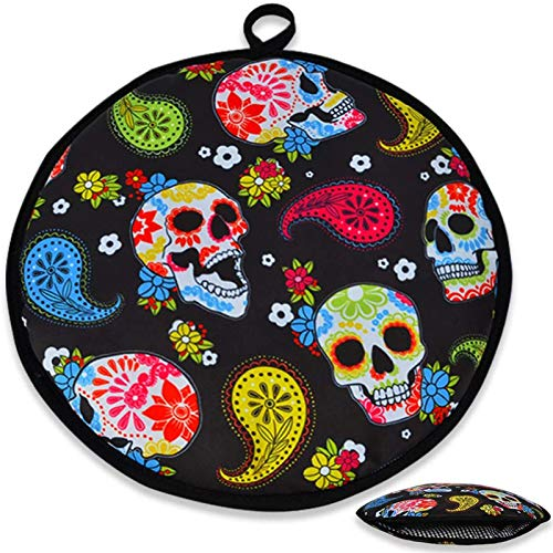 Tortilla Warmer 12 Inch Insulated Fabric Pouch | Microwave Tortilla Warmer Pouch for Corn & Flour | Keeps Warm for Tortilla Taco Pizza Bread up to One Hour | Tortilla Warm Keeper | Black-Skulls