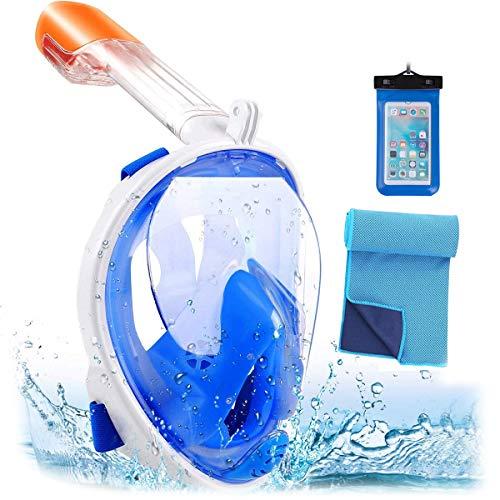 Srwmml qfht 180 ° Full Maschera e boccaglio con Gropro Mount Anti-Appannamento Anti perdite Swim Mask - Panoramic Seaview Snorkeling per Adulti