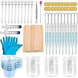 ZUZGO Juego de accesorios de resina epoxi, para principiantes, molde de silicona, con vaso medidor, pipeta, pinzas y guantes (149 unidades)