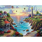 Spilsbury - 300 Large Piece Premium Jigsaw Puzzle for Adults by Artist John Zaccheo - Sunset Over Paradise Cove - Spilsbury Puzzle Company Premium Collection