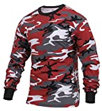 Rothco Long Sleeve Colored Camo T-Shirt, Red Camo, L