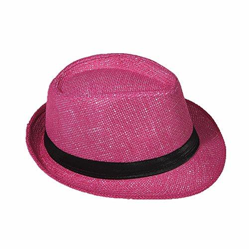 Strohhut Panama Fedora Trilby Gangster Hut Sonnenhut mit Stoffband Farbe:-Pink (Strohhut) Gr:-58