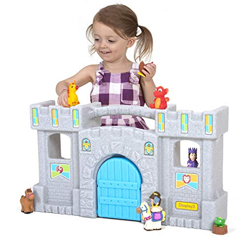 Simplay3 Carry & Go Castle, Portable Durable Toy Castle with 5 Rooms and 3 Balconies for Boys and Girls 18 Months to 6 Years (25.5' L x 14.9' H x 6.8')