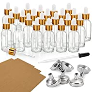 24 Pcs, 1 oz Dropper Bottles (30ml) with 6 Funnels & 1 Long Dropper - Clear Glass Bottles for Essential Oils with Eye Droppers - Tincture Bottles, Leak Proof Travel Bottles for Liquids, Golden Cap