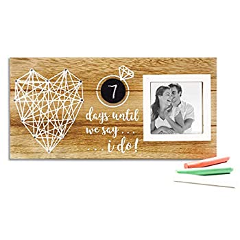 VILIGHT Wedding Countdown Picture Frame - Engagement Gifts for Newly Engaged Couples - Days Until I Do Sign with Chalkboard 3D String Art - 3x3 Photo