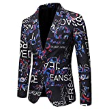 Hombres Casual Blazer Traje Chaquetas Slim Fit Floral Print Elegante Blazer Abrigos Chic Chaquetas Un solo Botonadura Boda Esmoquin Chic Abrigos Uso diario, azul, XL