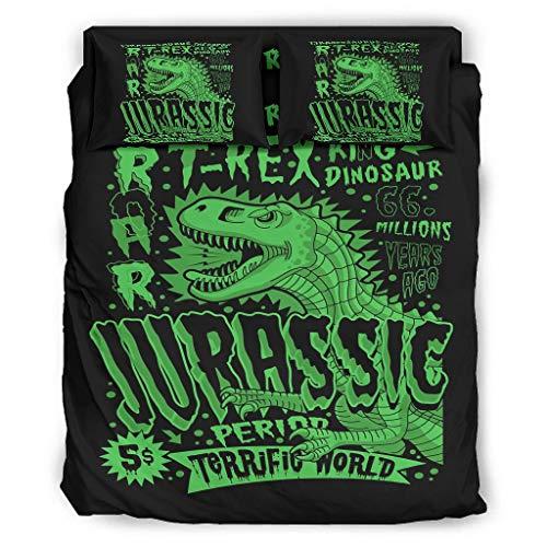 WellWellWell Juego de cama de 4 piezas T-REX con diseño de dinosaurio...