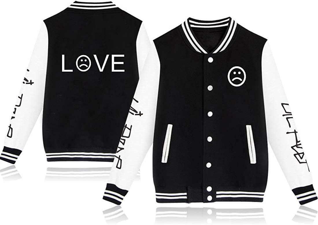 Unisex Lil Peep Baseball Jacket Cotton Warm Sweatshirt Fashion Button College Autumn Jacket