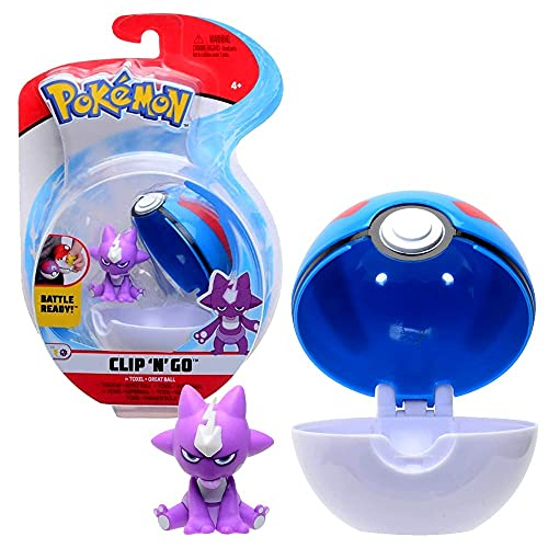 Pokemon Clip N Go Speelfiguur met Pokeball naar keuze, actiefiguren, speelfiguur: Mimigma