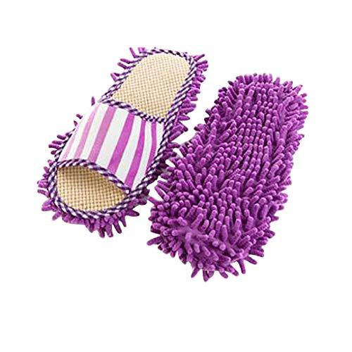 Broadwage Putzhausschuhe, Hausschuhe Herren Damen Korallenvlies Pantoffeln Staub Mop Schuhe rutschfeste Slippers, Einfache Reinigung Überschuhe für Badezimmer Büro Küche - Bodenreiniger (Lila)