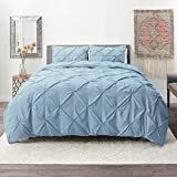 Nestl Bedding 3 Piece Pinch Pleat Duvet Cover Set | Ice Blue Duvet Cover with 2 Pillow Shams |Microfiber California King Duvet Cover Set