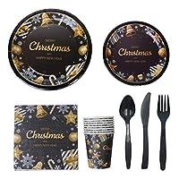 NUOBESTY クリスマスパーティー用品ホリデークリスマス使い捨て食器セット紙皿カップボウルナプキン用品68pcs(ランダム食器)