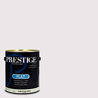 Prestige Paints E100-P-SW6826 Exterior Paint and Primer in One, 1-Gallon, Flat, Comparable Match of Sherwin Williams Whimsical White, 1 Gallon, SW32-Whimsical
