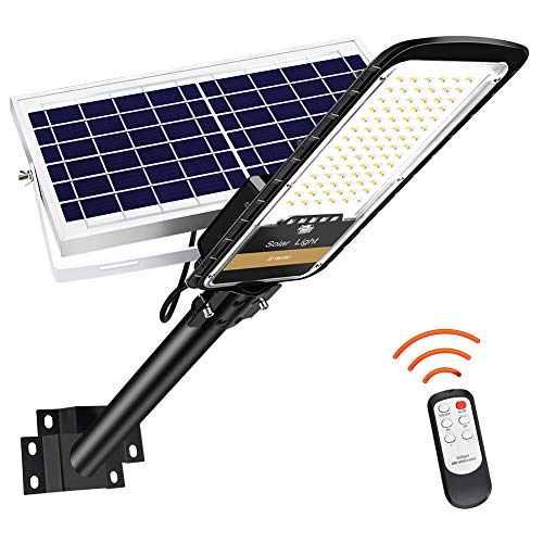 RuoKid 80W Solar Street Lights Outdoor Lamp, 84 LEDs 1500lm IP67 Light with Anti Broken Remote Control Mounting Bracket, Dusk to Dawn Security Led Flood Light for Yard, Garden, etc.