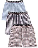 Badger Smith Men's 3 - Pack 100% Cotton Checks Multicolor Boxer Shorts
