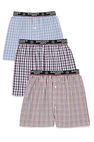 Badger Smith Men's 3 - Pack 100% Cotton Checks Multicolor Boxer Shorts