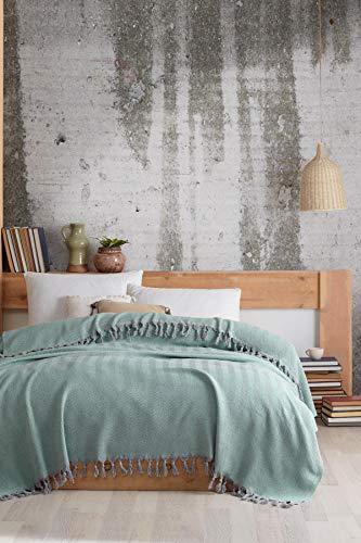 Tagesdecke, Wohndecke hochwertig, Kuscheldeck, ideal für Bett und Sofa,100%Baumwolle,Handgefertigte Fransen,200X250cm (Hellgrün)