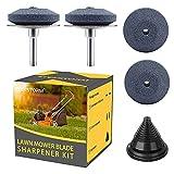 EtekStorm Lawn Mower Blade Sharpener Steel Backing Design Universal Multi-Sharp Rotary Lawnmower Sharpen Kit for Power Drill Hand Drill, Blade Balancer (5 Pack)