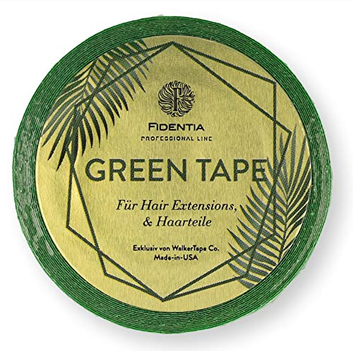 FIDENTIA Hair Extension Green Tape Klebeband | transparent & doppelseitig | Kleber für Tape In Haarverlängerung, Perücken, Toupets, Haarteile und Zweithaar | zertifiziert von Walker Tape