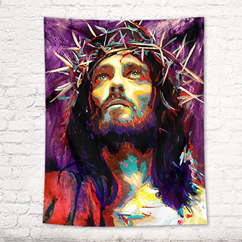 HVEST Jesus Tapestry Christian Faith Christmas Tapestries Watercolor Portrait Church Wall Decor Tapestry Wall Hanging Blanket for Living Room Bedroom Dorm Holiday Party Indie Room Decor 60X40 Inches