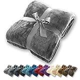 Manta Gräfenstayn® - Muchos tamaños y colores diferentes - Manta de microfibra Manta para sala de estar Manta para cama - Fibra polar de microfibra de franela (Gris, 200x150 cm)