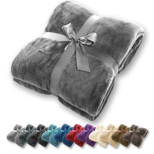 Manta Gräfenstayn - Muchos tamaños y colores diferentes - Manta de microfibra Manta para sala de estar Manta para cama - Fibra polar de microfibra de franela (Gris, 240x220 cm)