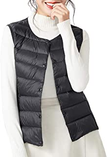 Women's Packable Faux Down Vest Lightweight Sleeveless Snap Jacket with Pockets, Black and Red Optional (Color : Black, Size : S)