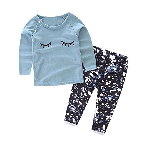 kingko® 1Réglez Toddler Filles Bébé Cils Imprimer manches longues T-shirt Tops + longues Pantalons Tenues Vêtements (24M)