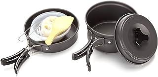 Ezyoutdoor 2Pcs/Set Portable Outdoor Tableware Cookware Bowl Pot Pan Set for 1-2 People Travel Utensils for Camping Hiking Picnic