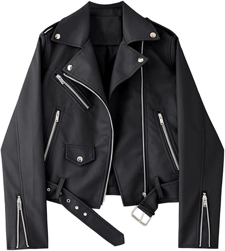 CDQYA PU Faux Leather Jacket Women Slim Sashes Casual Biker Jackets Outwear Female Tops Black Lavender Leather Jacket Coat (Color : Black, Size : L Code)