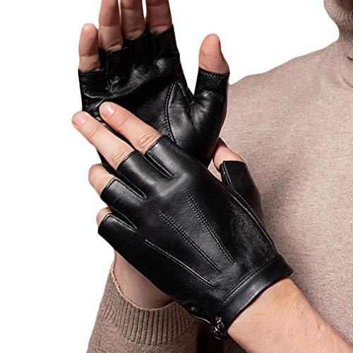 Wepop Guanti Senza Dita Guanto Guida PU Ecopelle Mezza Finger per Moto Ciclismo Arrampicata Palestra All'aperto Sport Uomini Donne Adolescenti (normale, L)