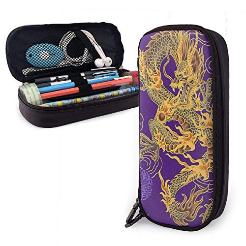 Lawenp Yellow Dragon Purple Background Pencil Case,Large Capacity Pencil Bag with Durable Zipper Students Stationery Pen Bag for Pens and Other School Supplies