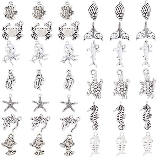 SUNNYCLUE 1 Box 65Pcs Summer Sea Theme Charms Antique Sliver Animal Charms Mermaid Tortoise Pendant Charms for Earring Necklace Bracelet Keychain Jewelry Making