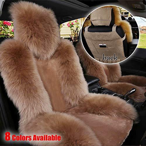 onegoodcar Sheepskin Seat Cushion Cover, Authentic Australian Full Size Car Seat Pad Fur Car Front Seat Cover Winter Warm Seat Cushion Cover Universal Fit