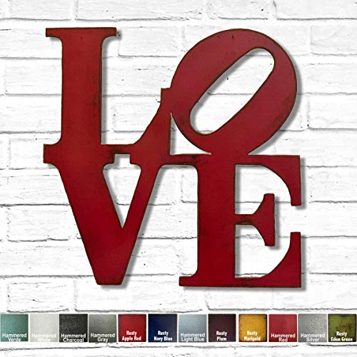8x8, 11x11, 17x17, 24x24 or 36x36 inch tall metal wall art, Choose LOVE, HOME or HOPE sign - Choose your Patina Color and Size