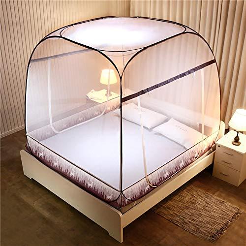 Yurt superior cuadrada Imprimir Mosquitera cama con dosel, completamente cerrado Carpa cama, Pop-Up, plegable, Instalación-libre, conveniente para el 1.5M y 1.8M Ancho Camas,A,150*200cm