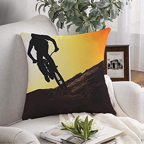 N\A Dekorative Square Throw Kissenbezug Silhouette Mann auf Mountainbike Sonnenuntergang Sport Teen Abend Erholung Fitness Parks Radfahren Outdoor Soft Kissenbezug für Schlafzimmer Sofa Couch