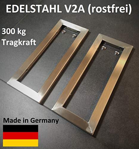 2er Set V2A Wandhalterung Handtuchhalter Regalträger Edelstahl gebürstet Waschtischplatte Konsolenträger Konsolenhalterung rostfrei 300 kg Traglast