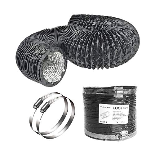 LOOTICH Fuerte Tubo Flexible de Aluminio PVC Ø150mm Longitud 2.5m para Extractor de Aire Climatización Secadora Conducto de Aire de Ventilación Sistemas con 2 Abrazaderas de Acero Negro