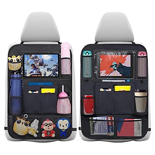 Auto Organizer 2 Stück Auto Rückenlehnenschutz Autositz Organizer 600D Oxford Stoff Kofferraum Organizer Auto Organizer Kinder Große Taschen und iPad-/Tablet-Fach,Kick-Matten-Schutz für Autositz